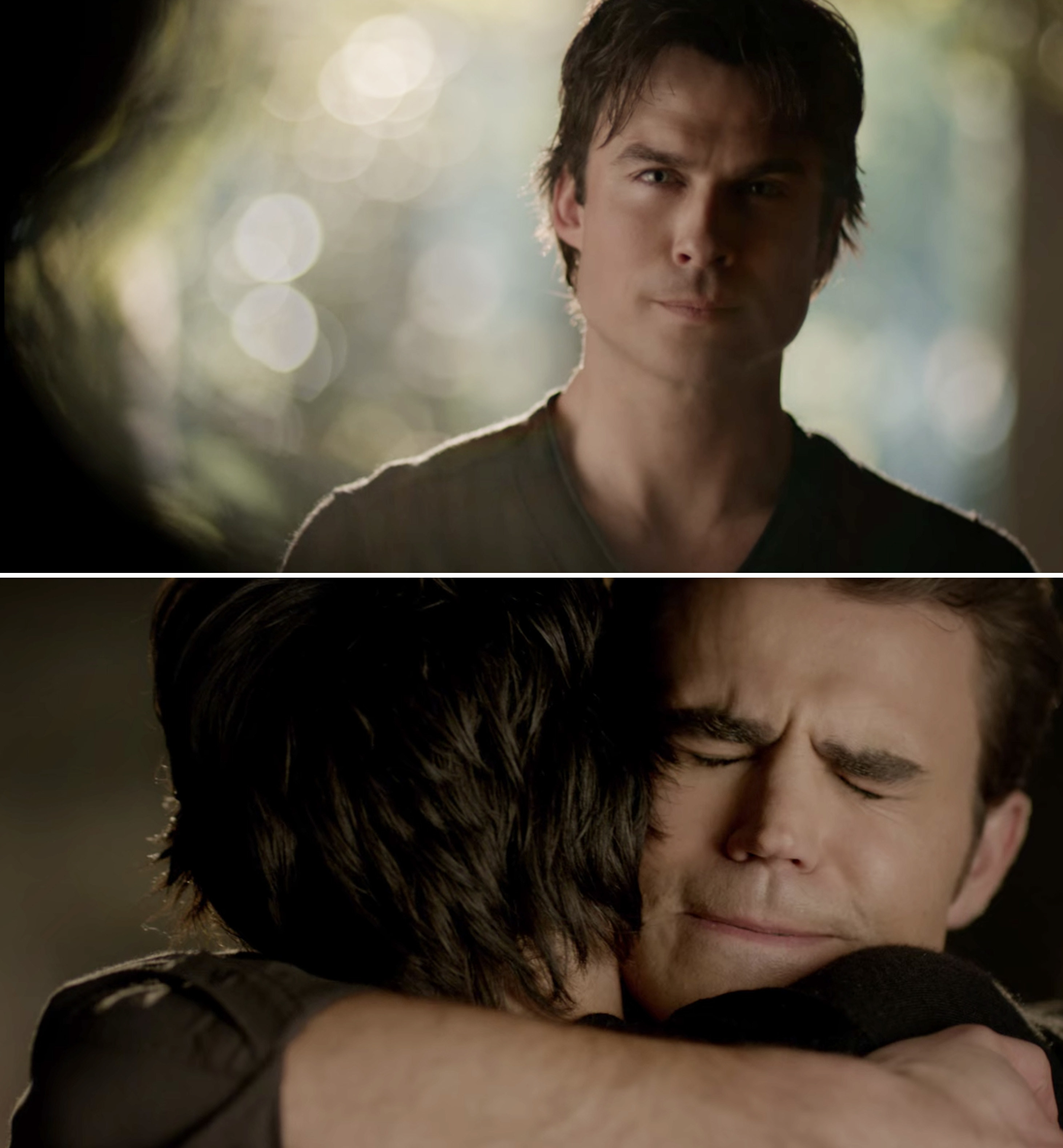 Damon and Stefan reuniting and hugging