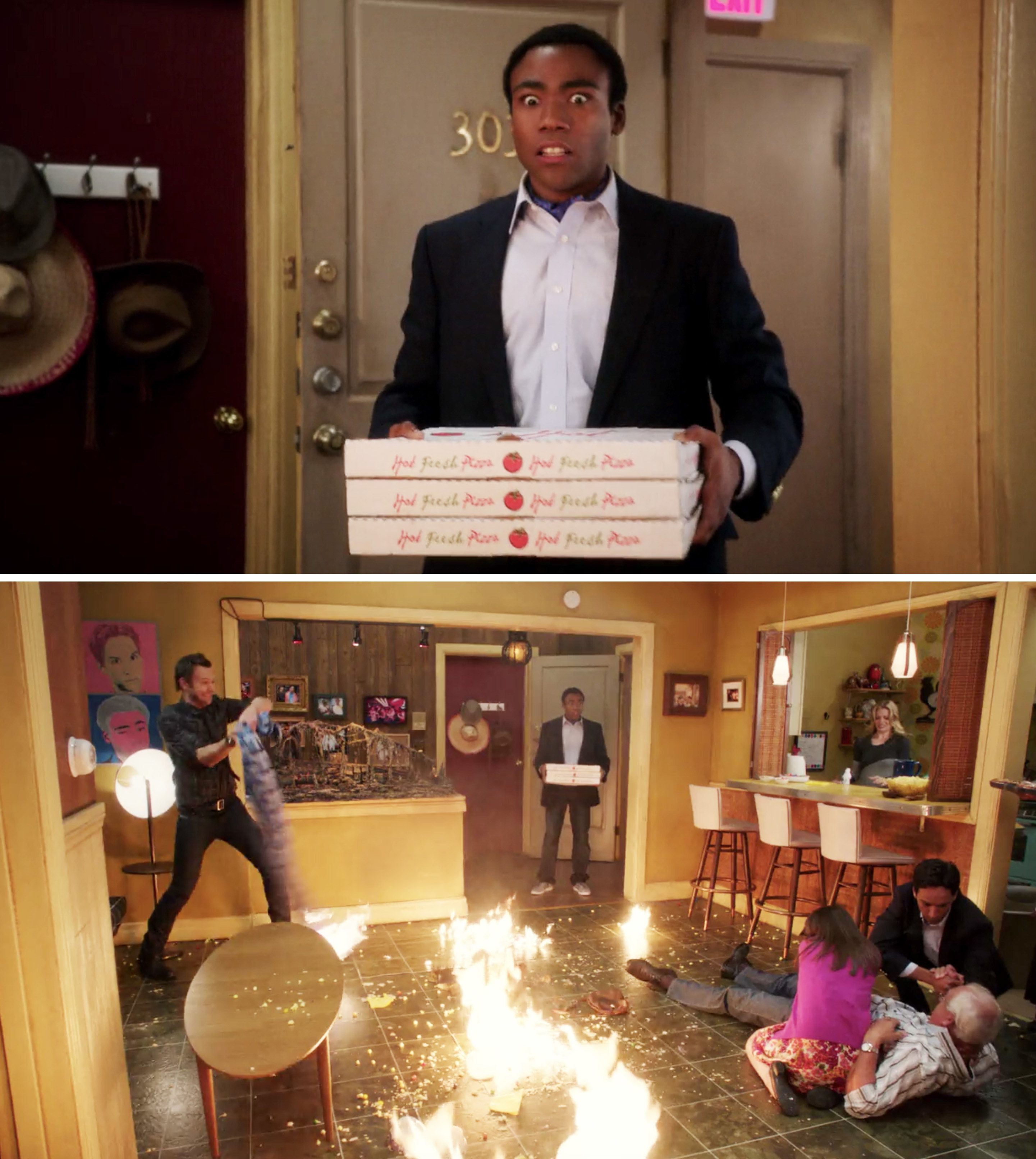 Troy walking in with pizza and seeing everyone screaming and the apartment on fire