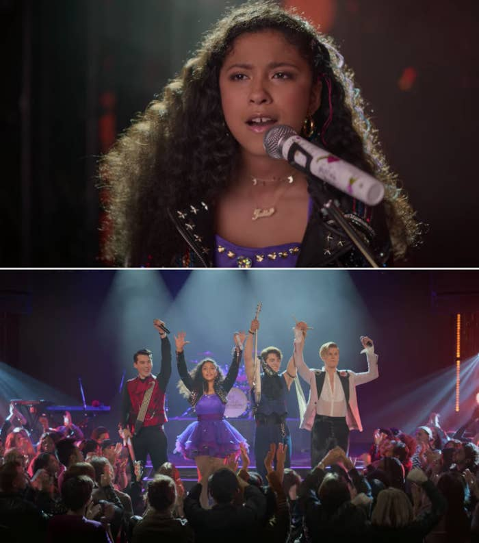 """Julie, Luke, Reggie, and Alex performing """"Stand Tall"""""""