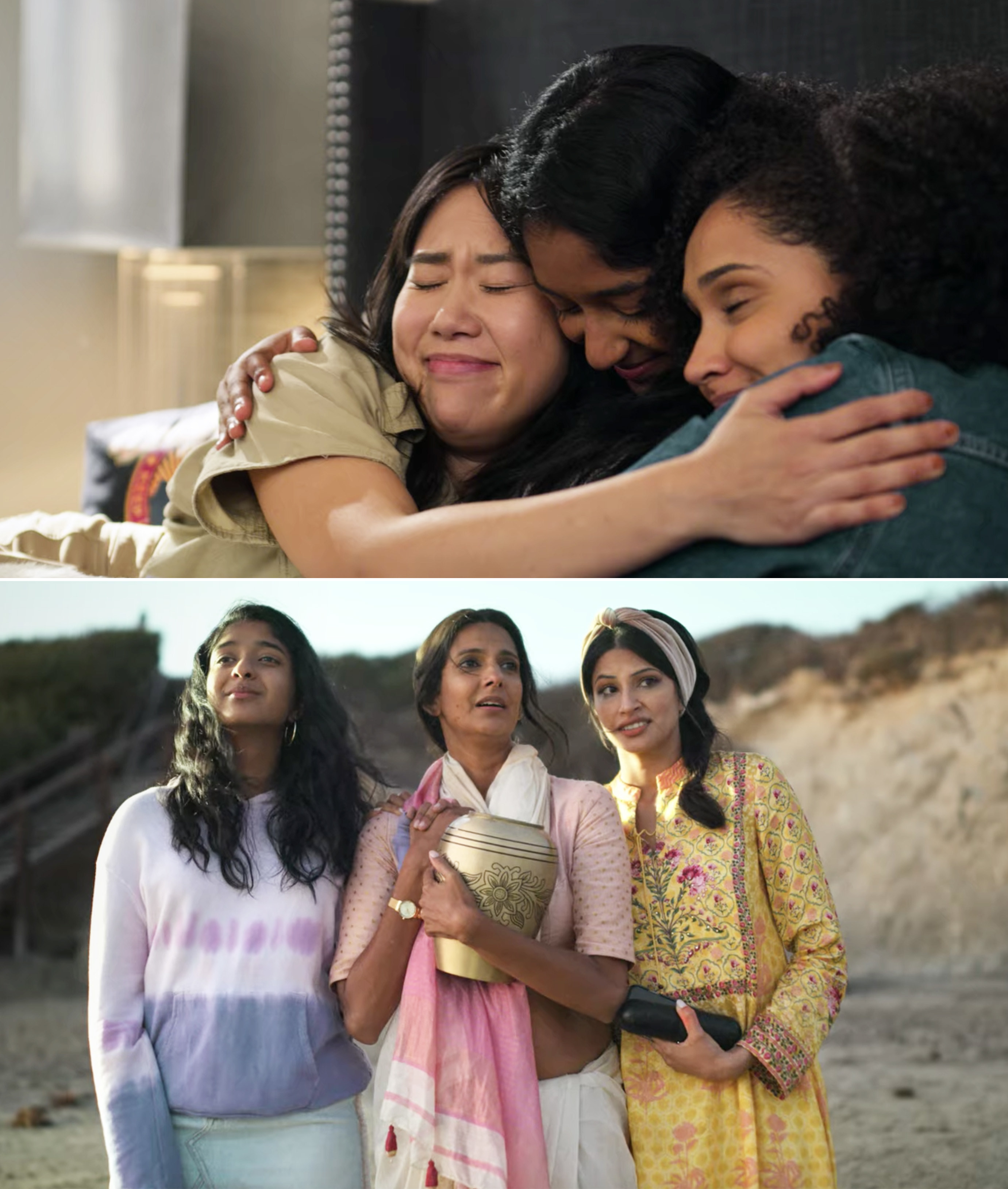 Devi, Fabiola and Eleanor hugging, and Devi standing on the beach with her mom and Kamala
