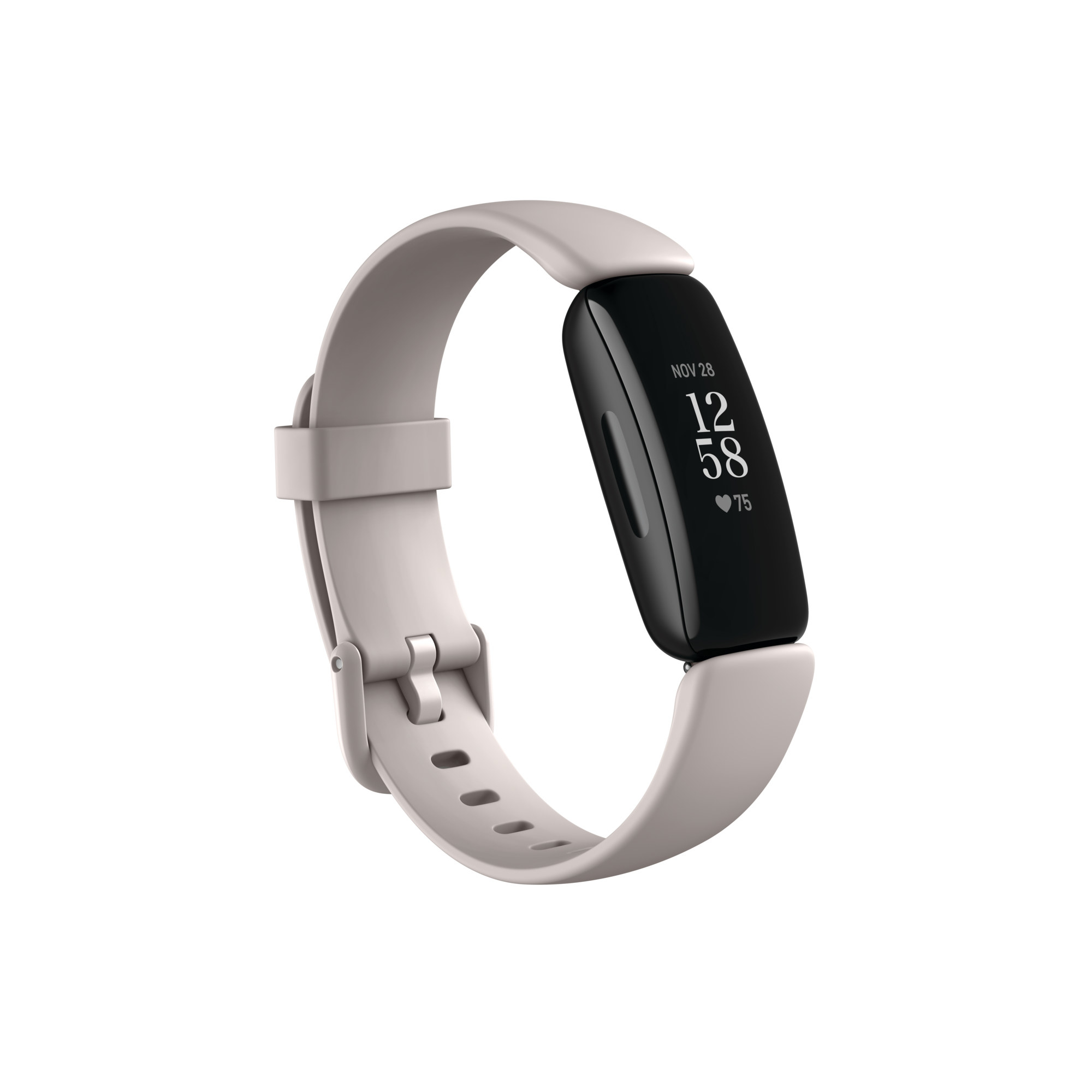 The white Fitbit with a black face