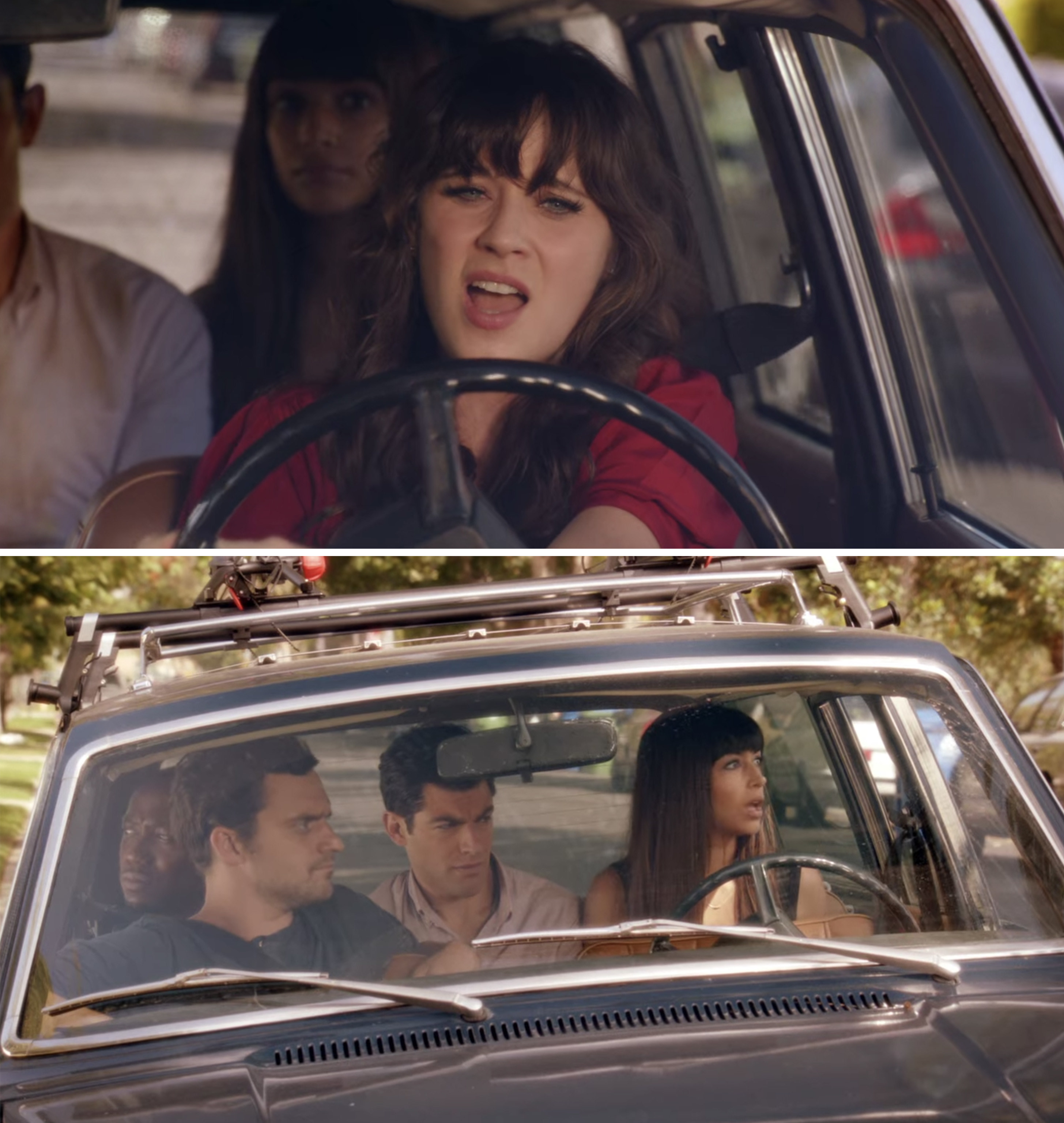 Nick, Schmidt, Winston, and Cece watching Jess sing in the car