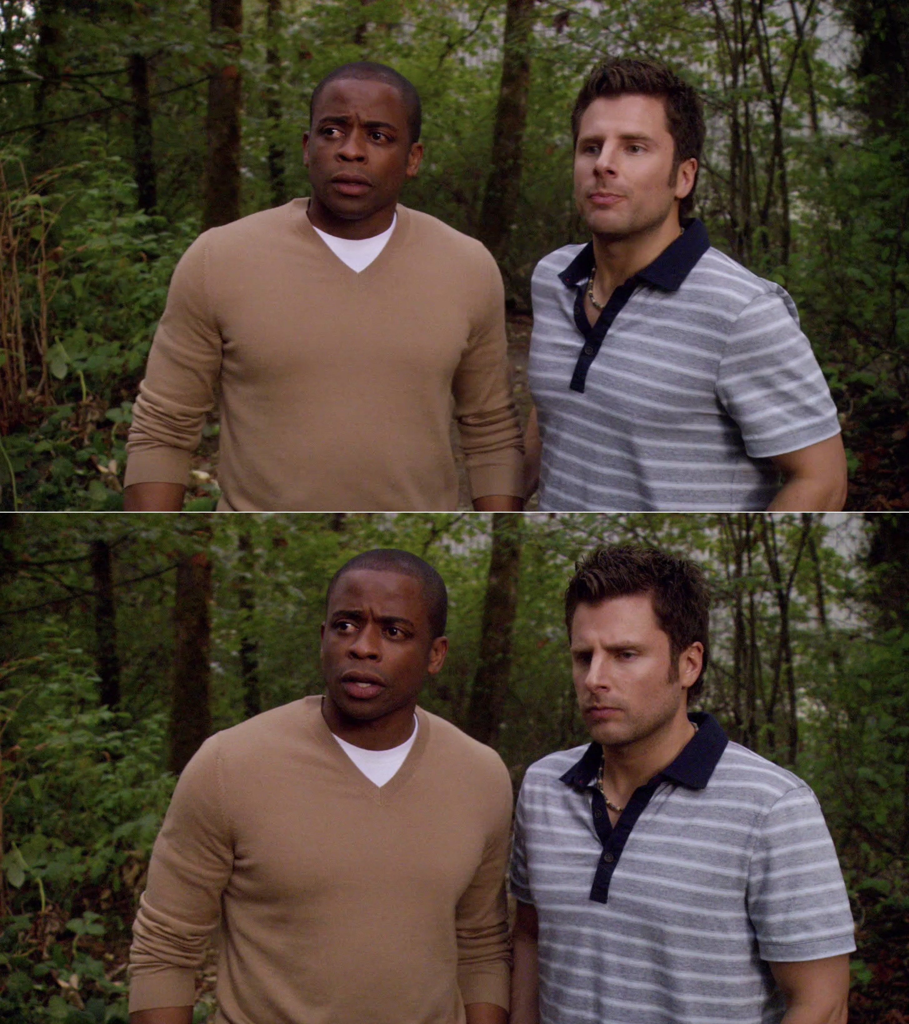 Gus and Shawn standing next to each other looking confused