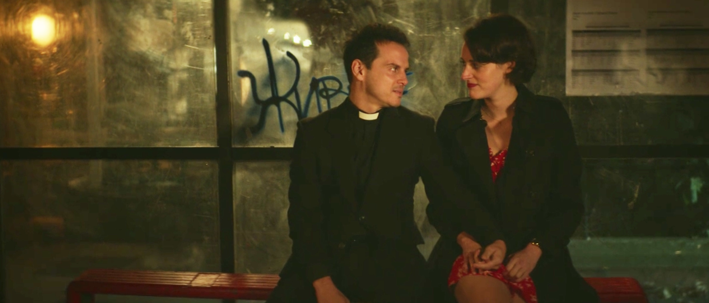 The Priest and Fleabag sitting next to each other