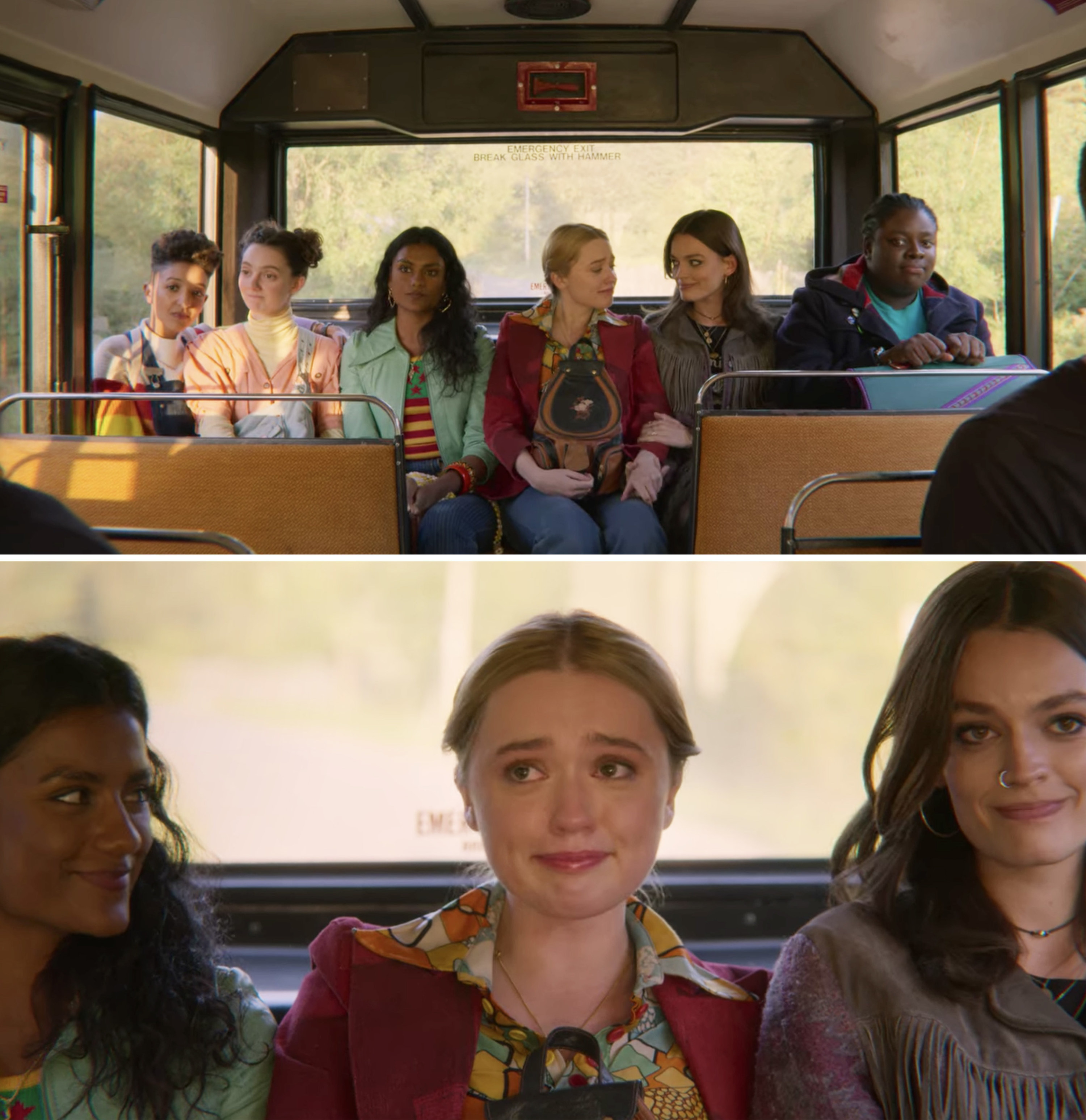 Aimee sitting on the bus with Maeve and their friends