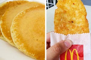 Side by side of McDonald's Hotcakes and hash brown