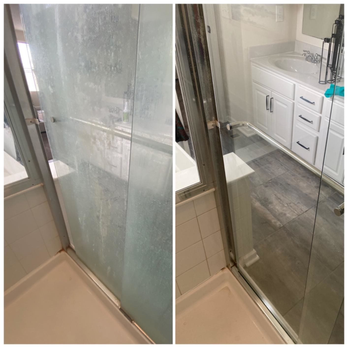 A reviewer's before and after showing how it removed the water stains from a shower door making it clear again