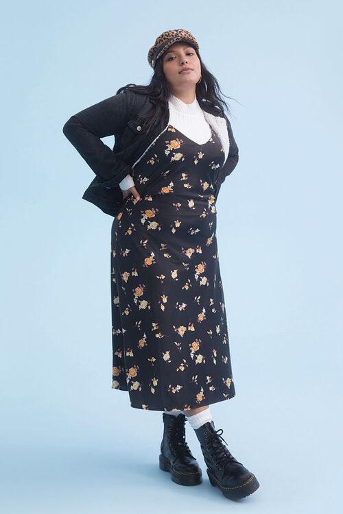 model wearing the black floral slip dress