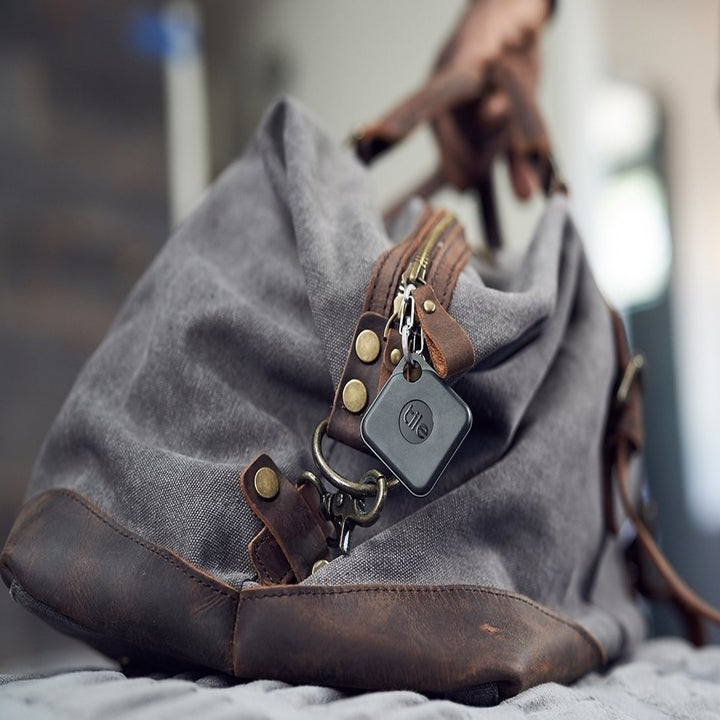 A bag with the tracker charm on it
