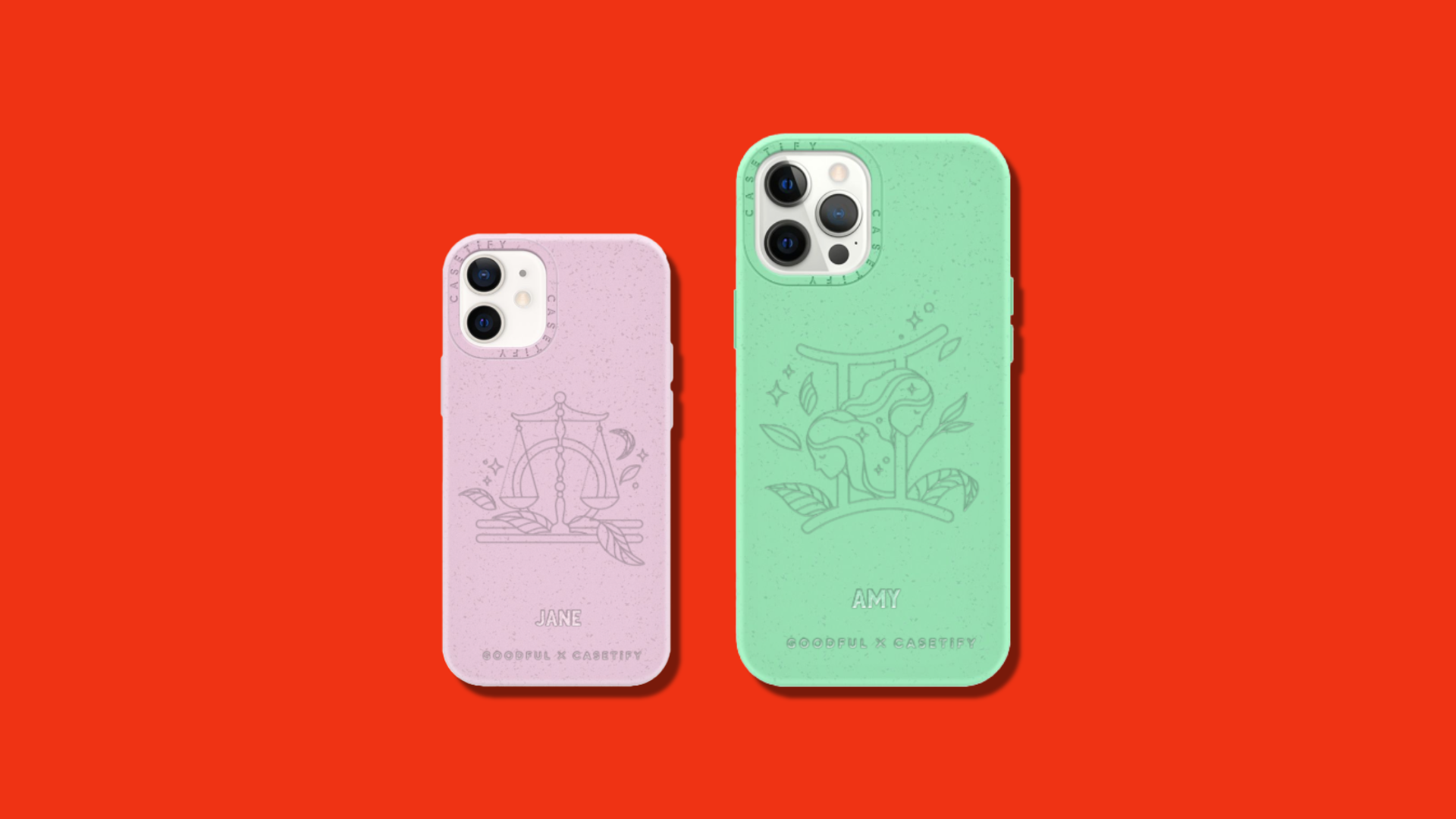 An iPhone 12 mini and iPhone 12 Pro Max case on a red background.