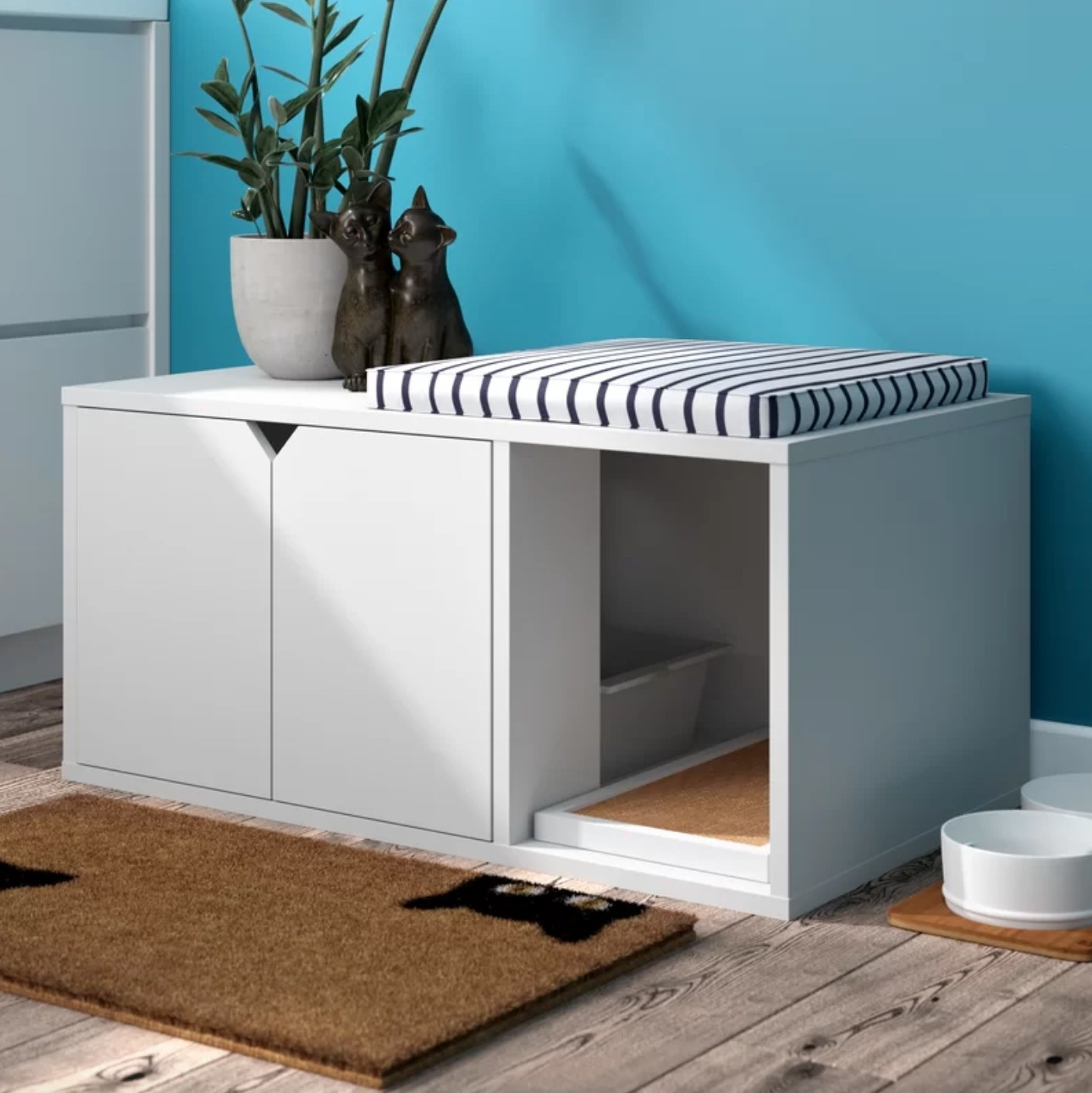 The litter box enclosure in white