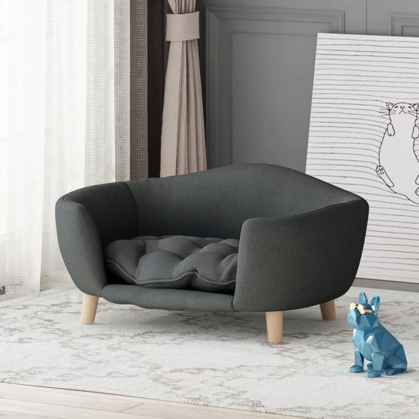 The mid century plush dog sofa in dark gray