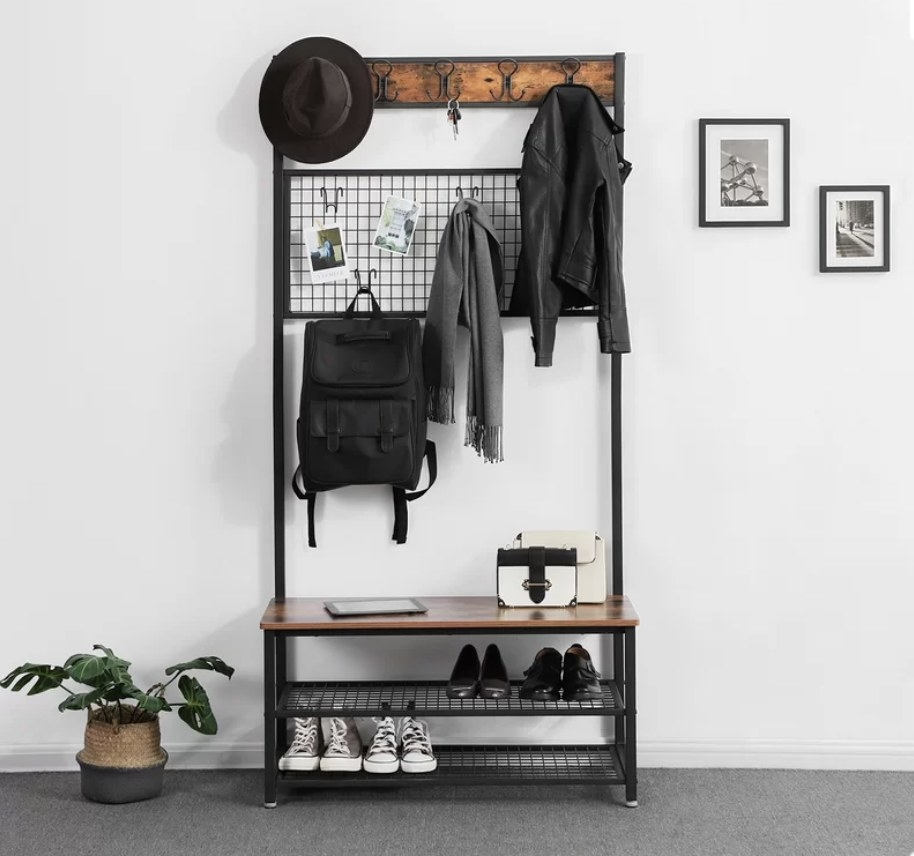 Hallway organizer with shoe rack underneath bench, hooks above and grid hook in center