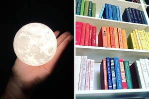on left reviewer holding a moon and on right multi-colored books