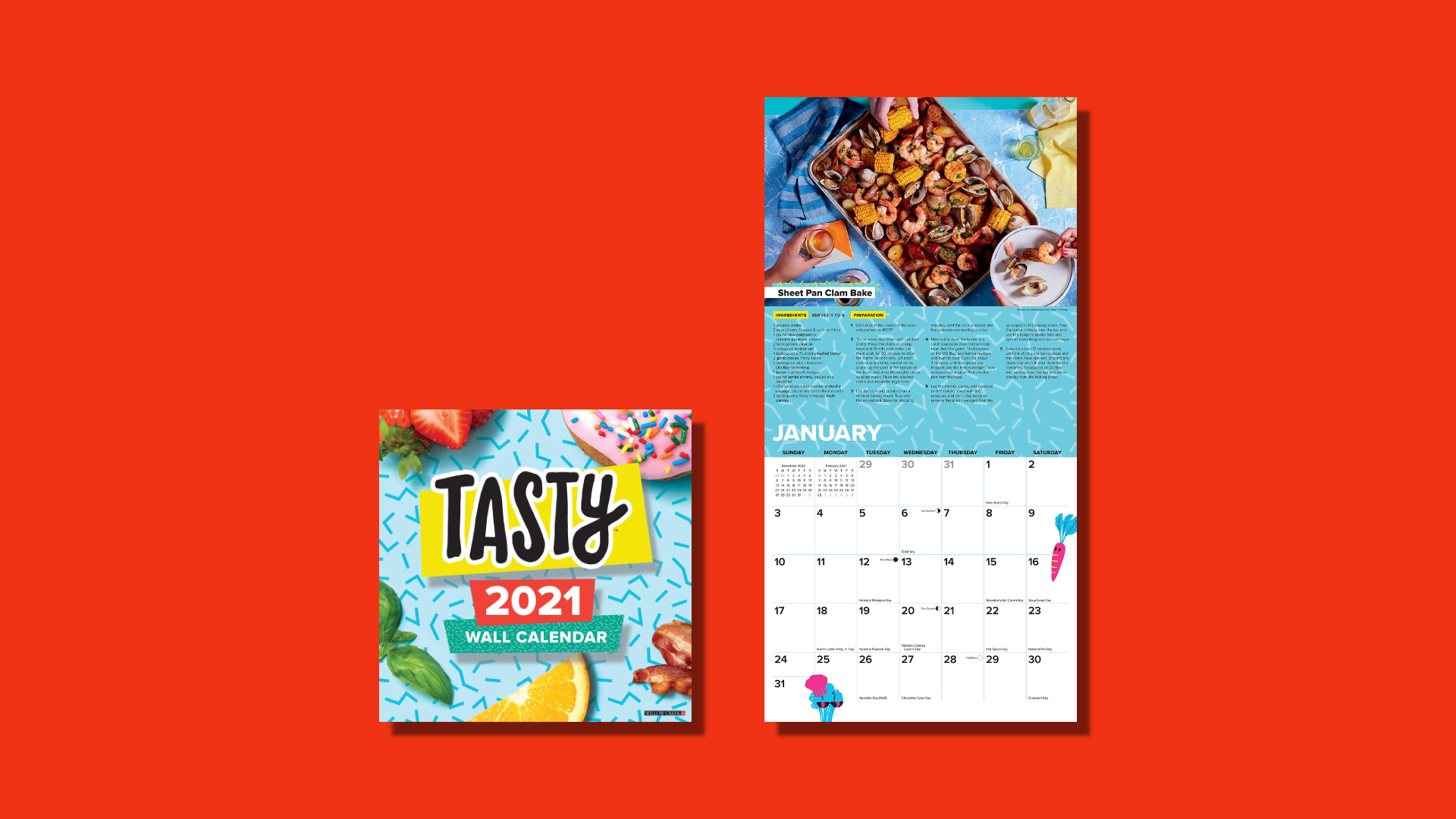 Blue calendar with food images on a red background.