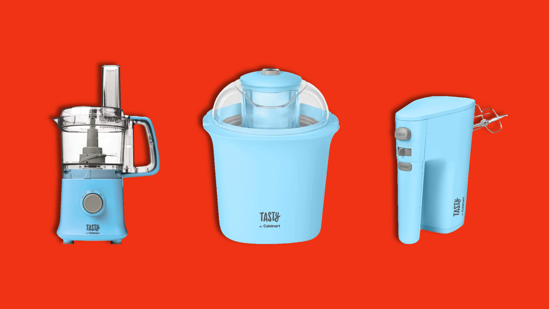 Blue kitchen appliances on a red background.
