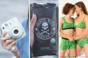on the left a liught blue instax camera, in the middle a bag of death wish coffee, on the right two snuggly models in matching buddy the elf bralettes and underwear