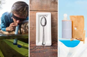 "split thumbnail of person drinking stream water through a Lifestraw, spoon rest that says ""rest in grease,"" laundry detergent tablets"