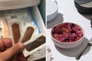 split thumbnail of brown and black skin tone bandages, a bowl with a salad in it