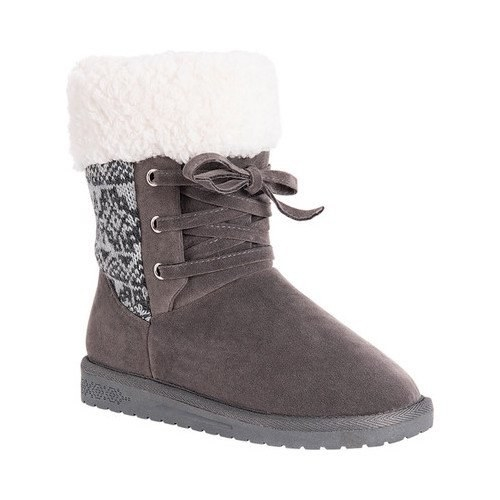 The grey and sherpa booties