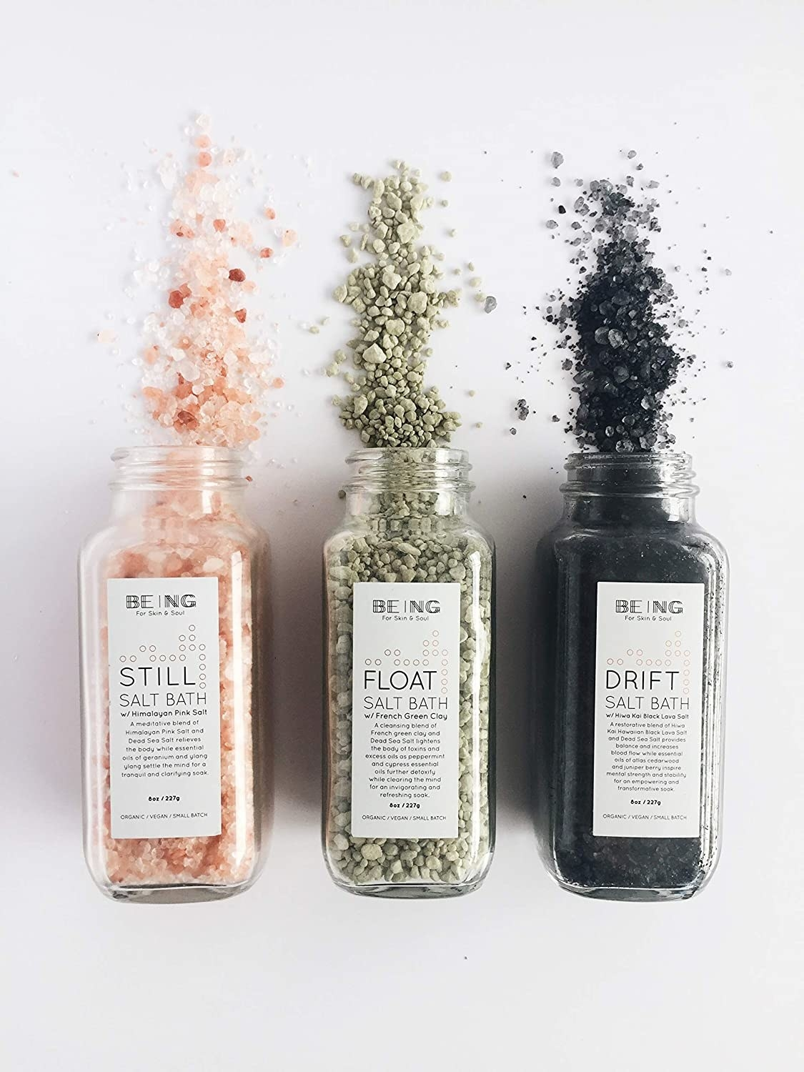 Three different bath salts in glass jars