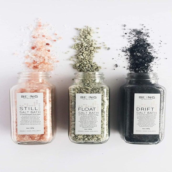 Three different bath salts in glass jars