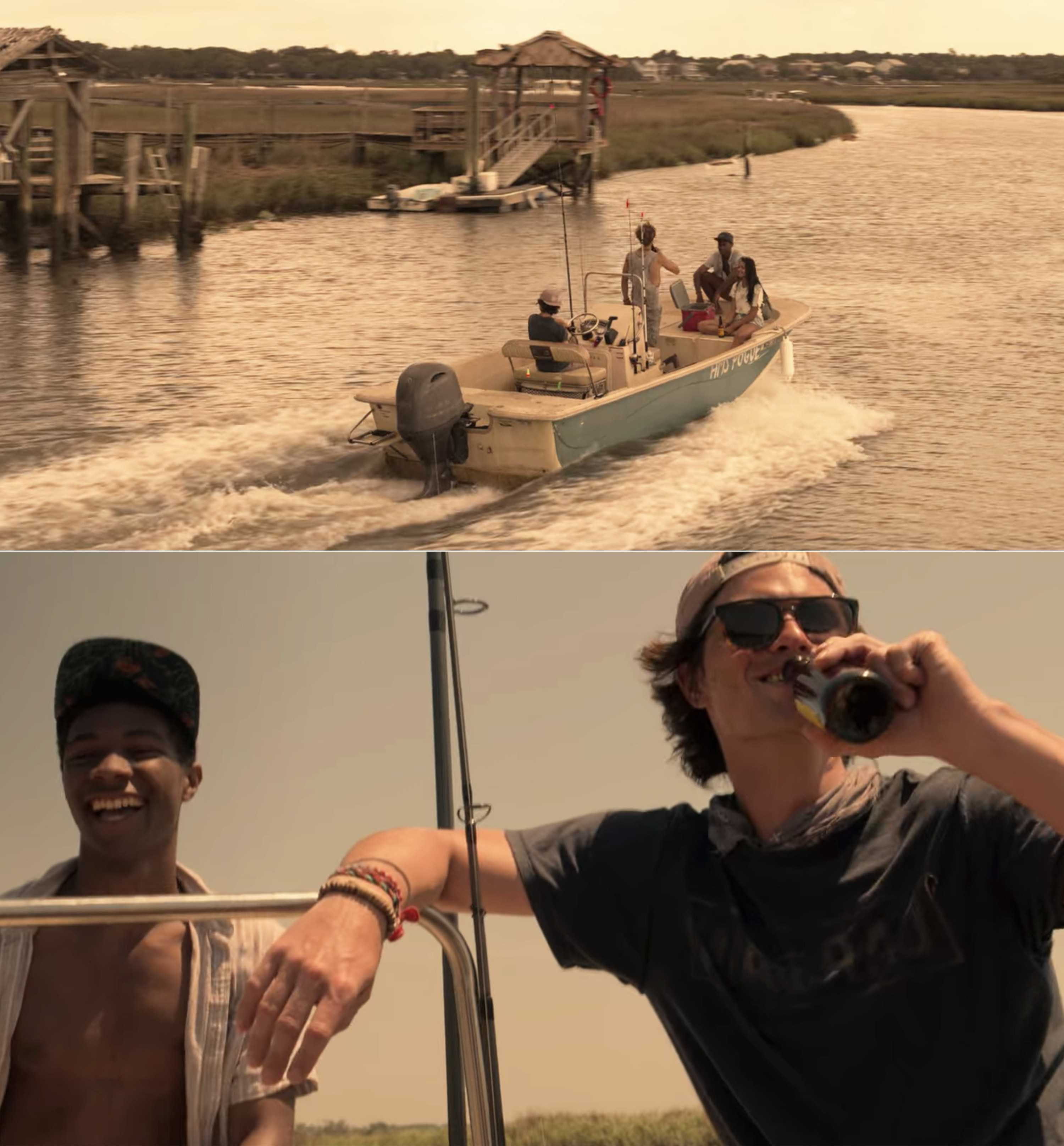 The Pogues on their boat and John B. drinking a beer