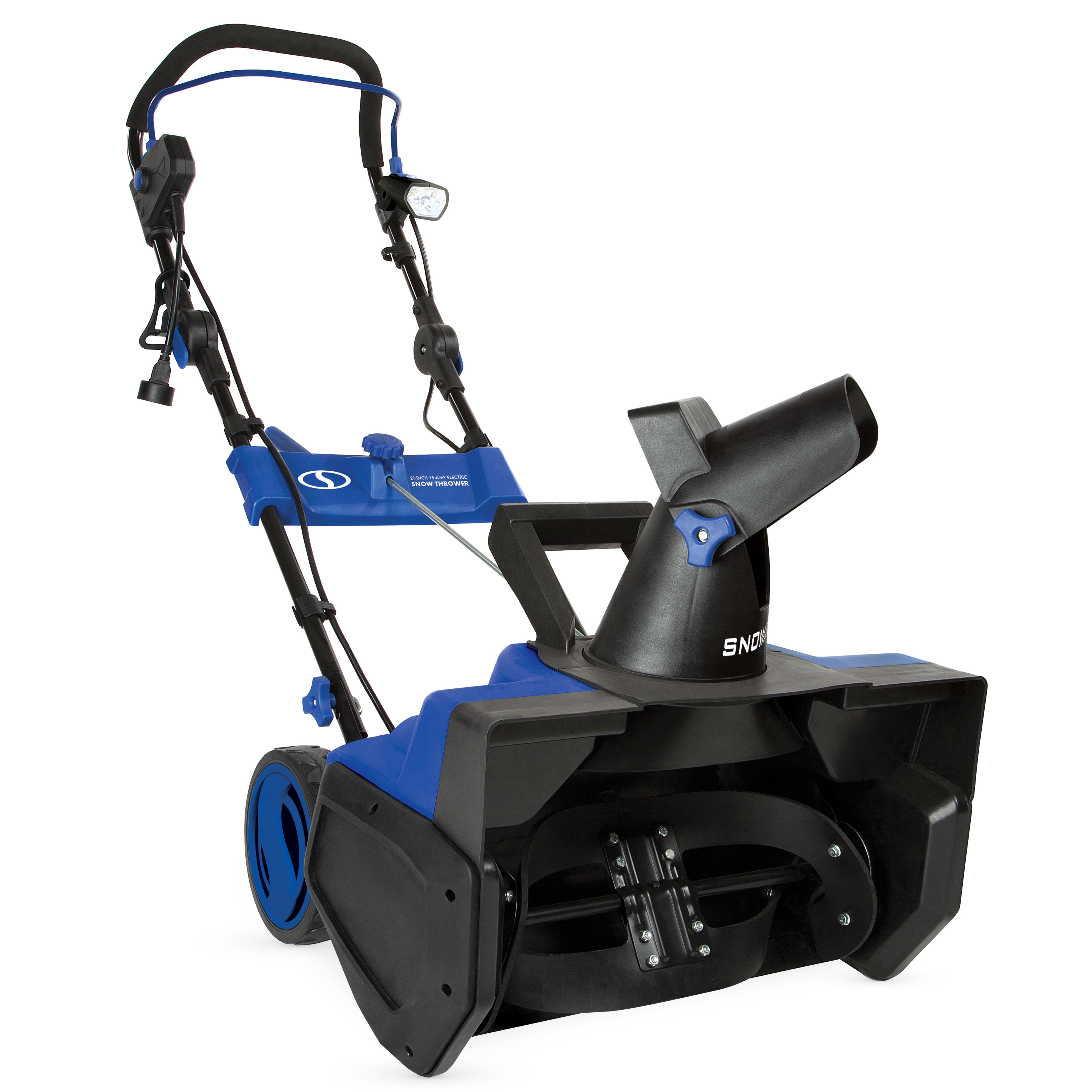The blue and black snow thrower