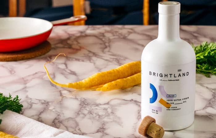 Olive oil bottle on kitchen counter
