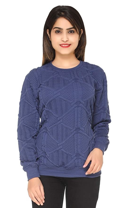 Blue knit sweater.