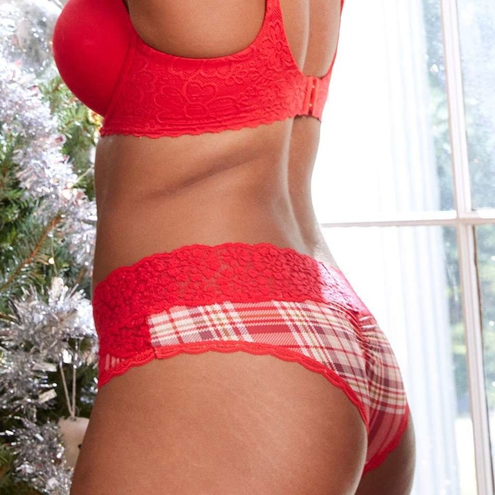 Model in red plaid undies