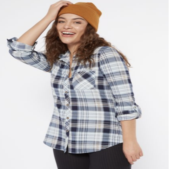 model wearing blue plaid shirt