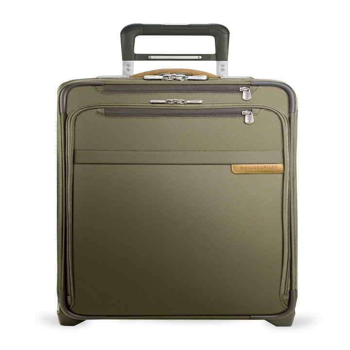 the olive green suitcase