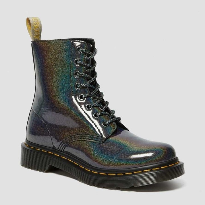shiny purple combat boots