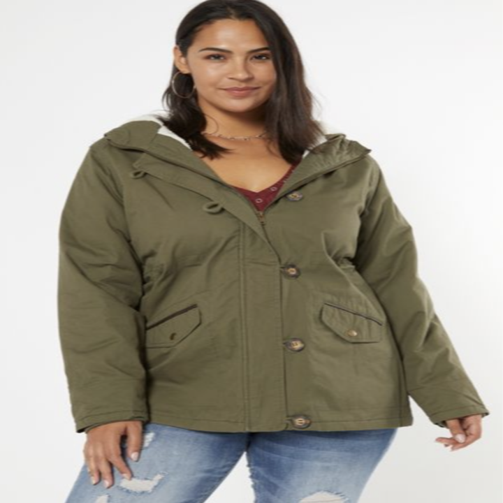model wearing olive green anorak jacket