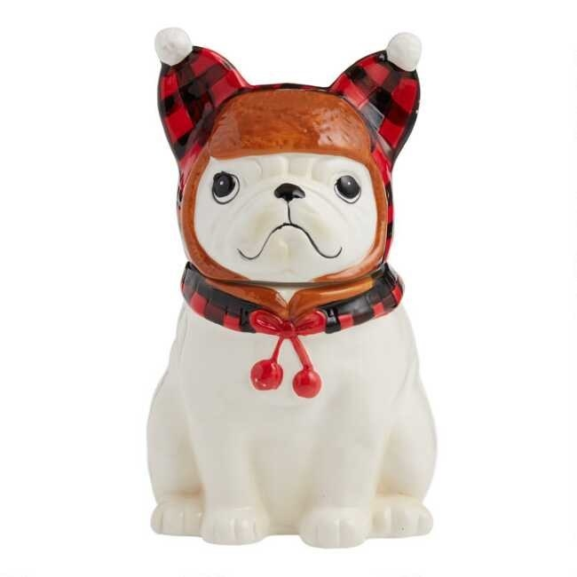 The French bulldog cookie jar which has a plaid trapper hat
