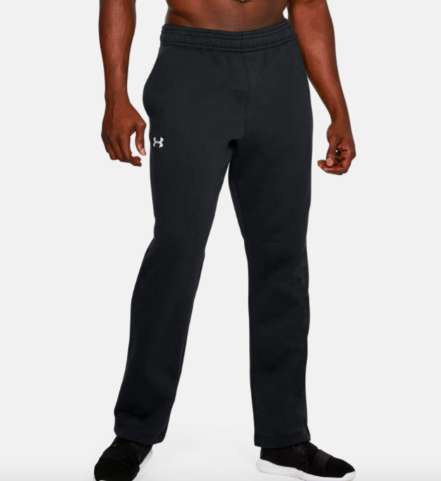 model wearing UA rival fleece sweatpants in black