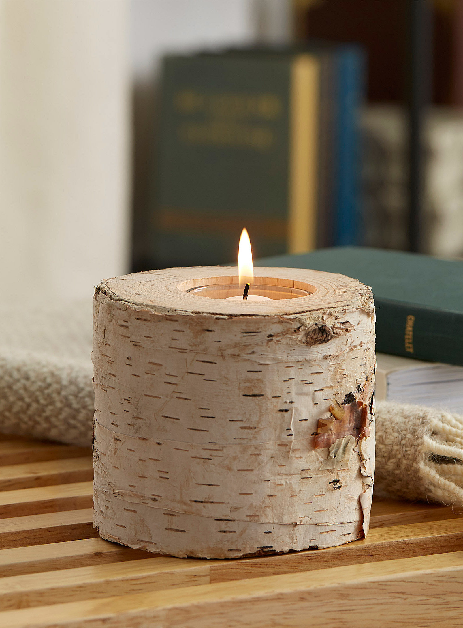 birch candle holder with tea light