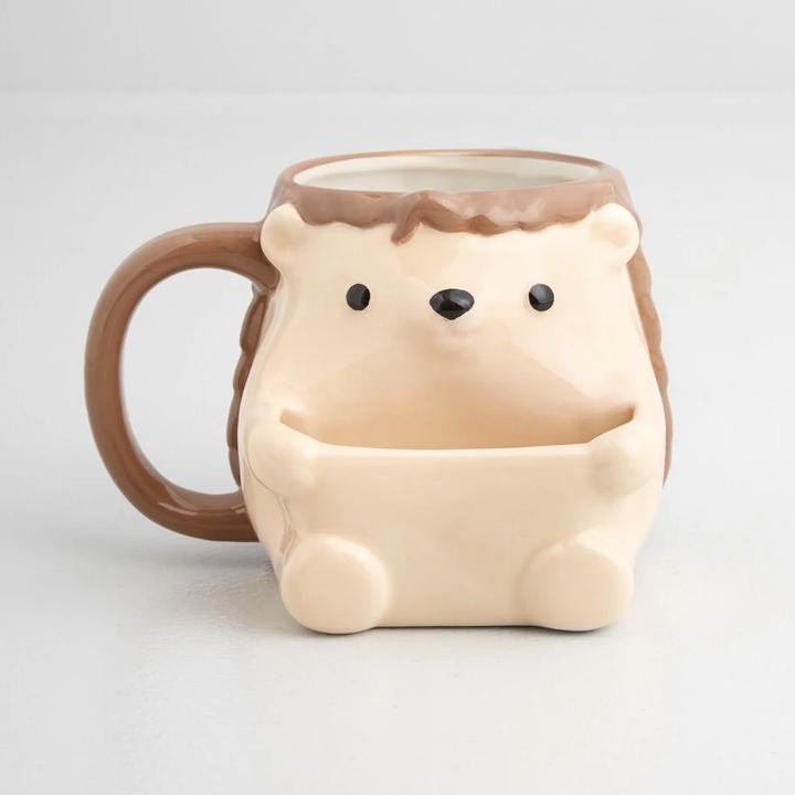 hedgehog mug with little pocket for a cookie