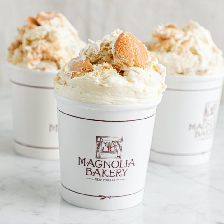 three cups from magnolia bakery filled with banana pudding