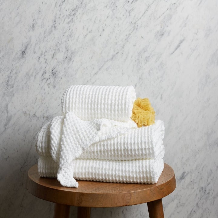 white waffle knit towels
