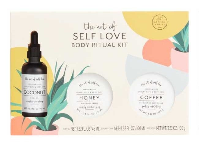 The three-piece self love kit which comes with two body scrubs and one oil