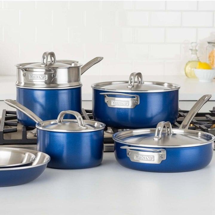 blue pots and pans