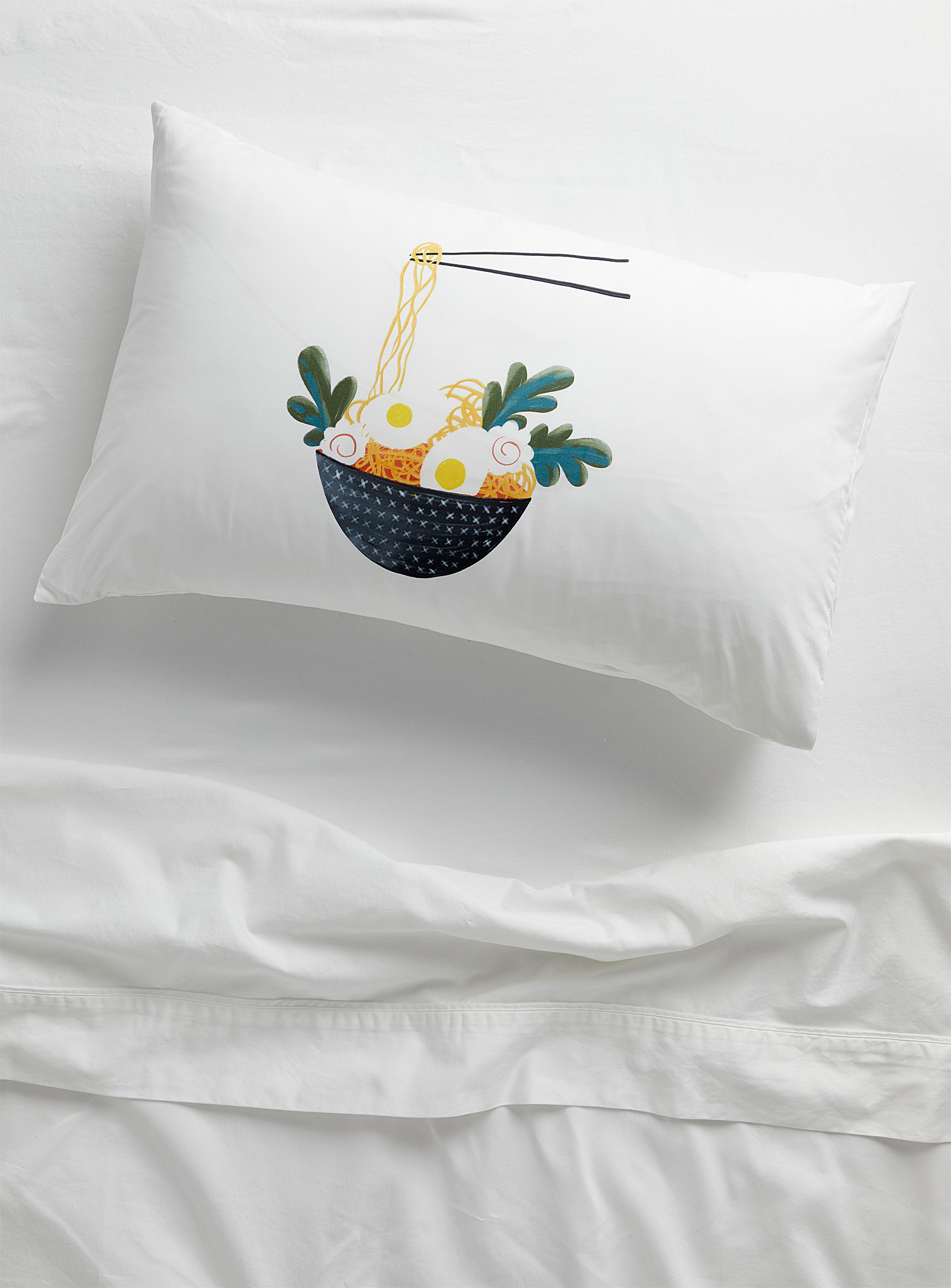 ramen pillow cover on pillow