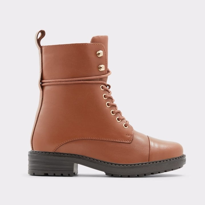 the brown combat boots