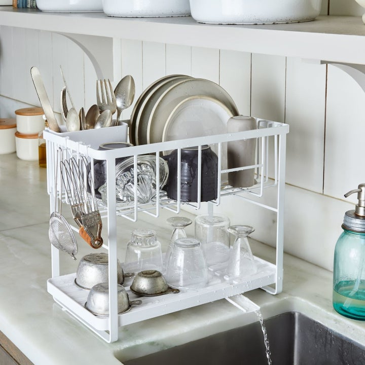 double decker white dish rack with spout for excess water