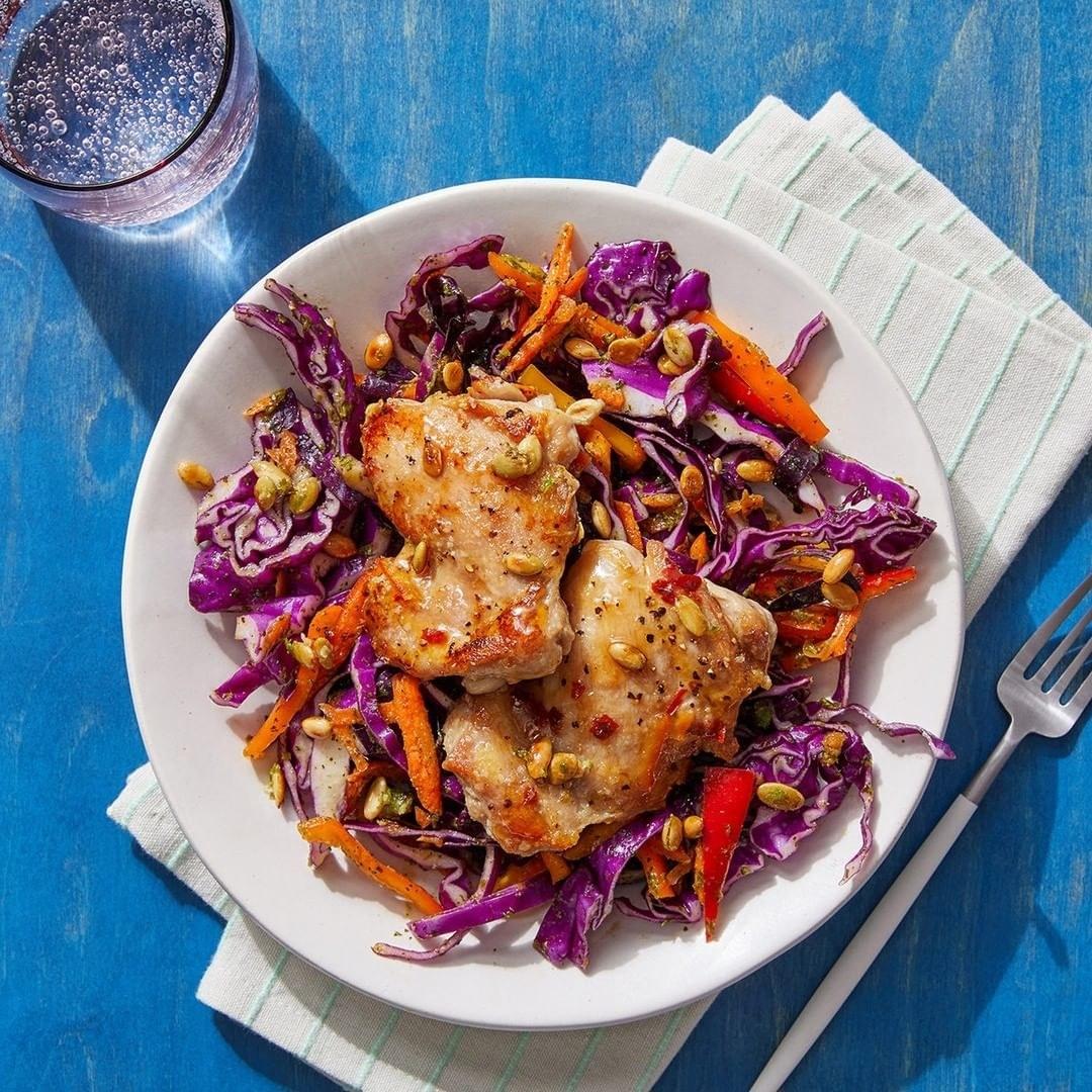chicken over cabbage dish