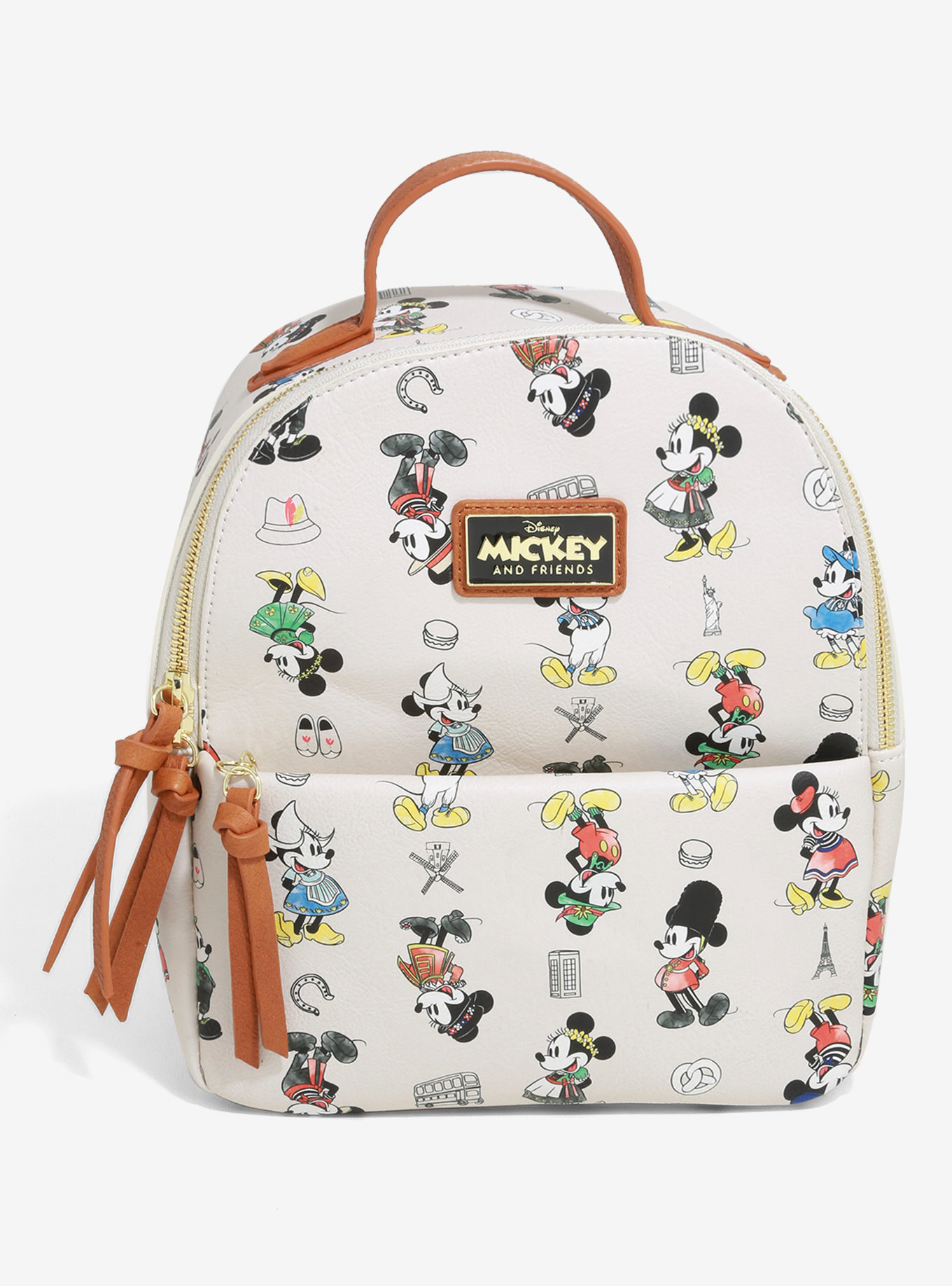 a small white backpack with mickey and minnie all over it dressed in international clothing