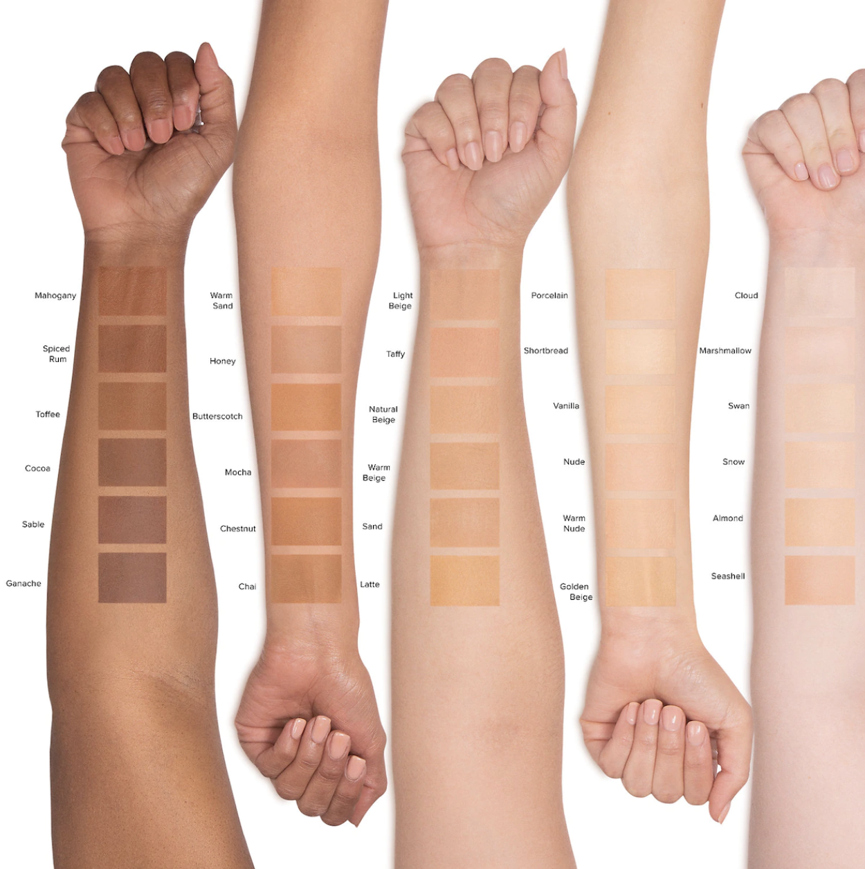 The range of swatches across models' arms in fair, light, medium, tan, and deep skin tones