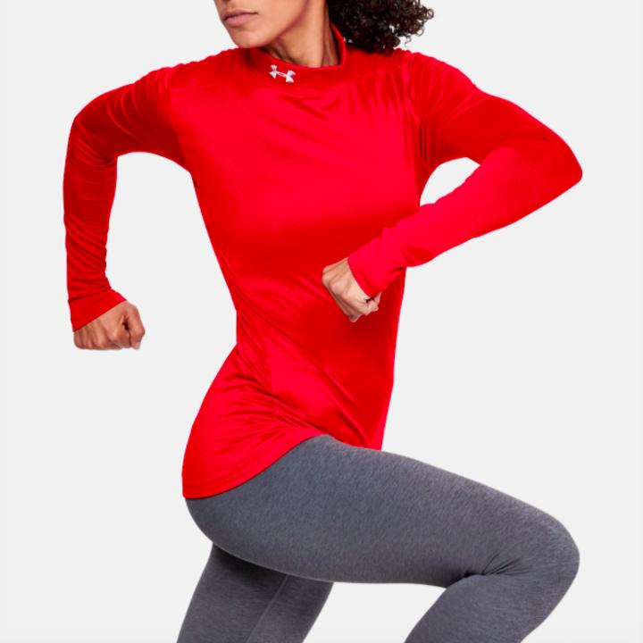 model wearing UA ColdGear mock in red